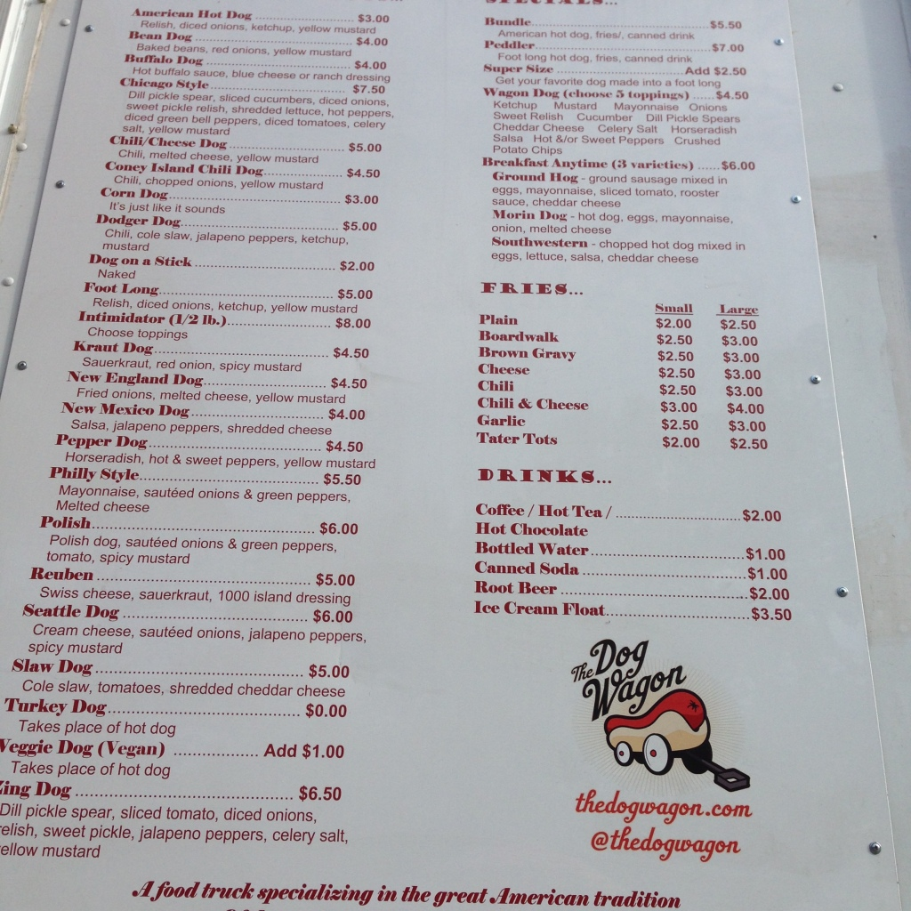 Dog Wagon Menu