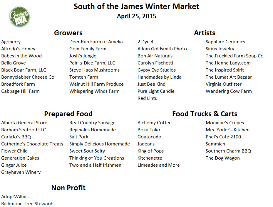 South of the James Market vendor list 2015 April 25