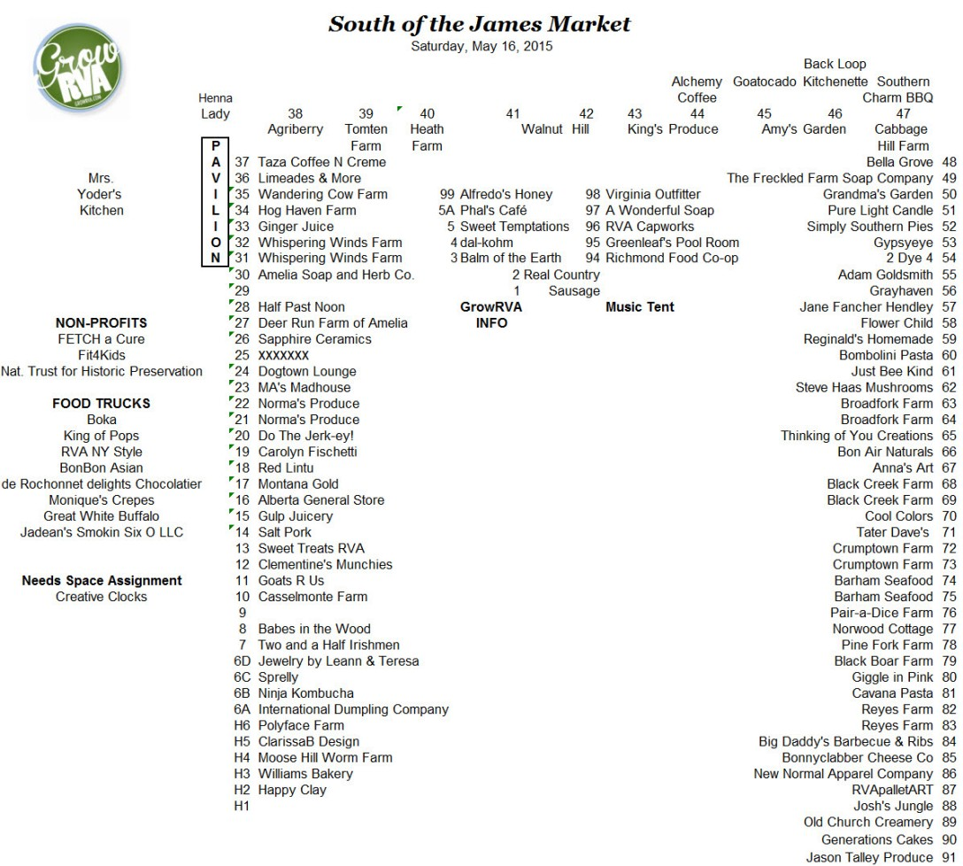 GrowRVA's South of the James Market May 16, 2015 vendor map