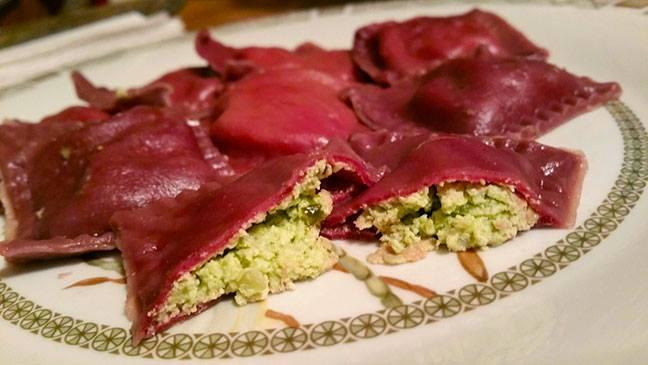 Beet ravioli