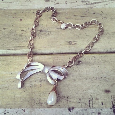 GrowRVA - Half Past Noon silver and bow necklace